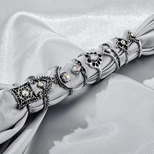 2/$20! Set of 8 Silver/Gem Boho Midi Rings